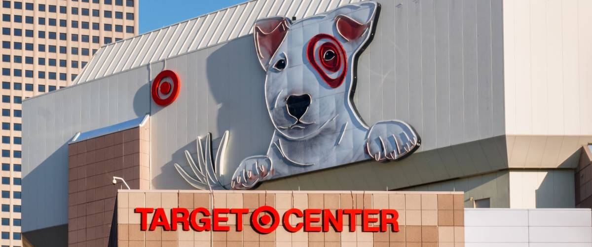 MINNEAPOLIS, MN/USA - AUGUST 11, 2015: Target Center exterior and logo. Target Center is a multi-purpose arena and home of the Minnesota Timberwolves.