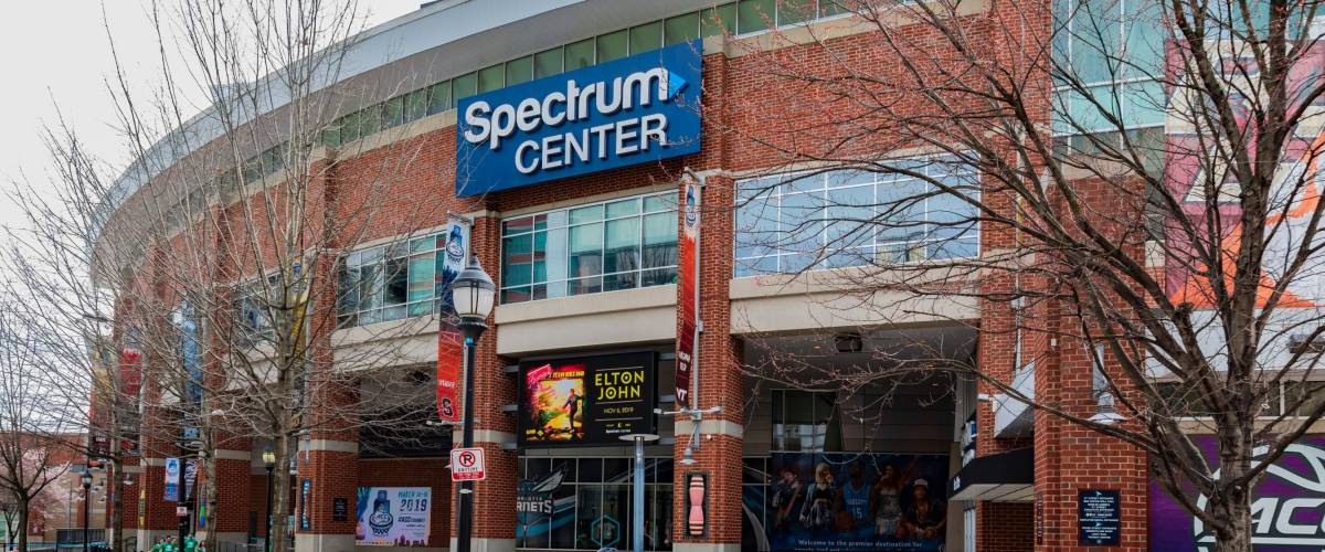 CHARLOTTE, NC, USA-3/16/19: The Spectrum Center, home of the Charlotte Hornets basketball team, and venue for other entertainment.