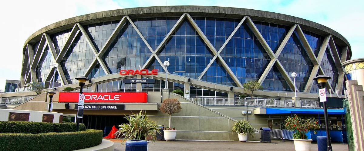 Oakland, California, USA-19 February 2015:Exterior view of Oracle Arena