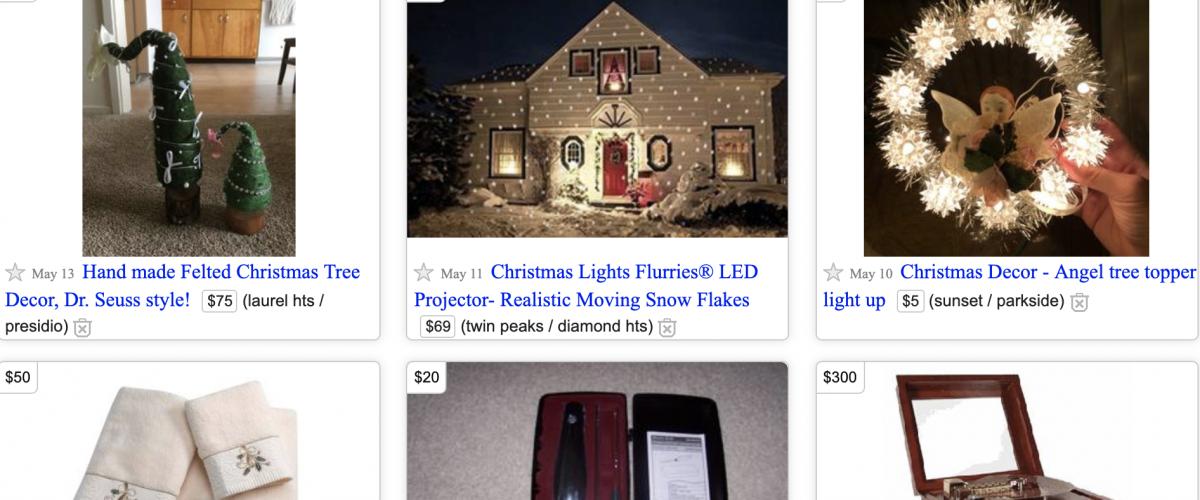 Різдвяні предмети на Craigslist