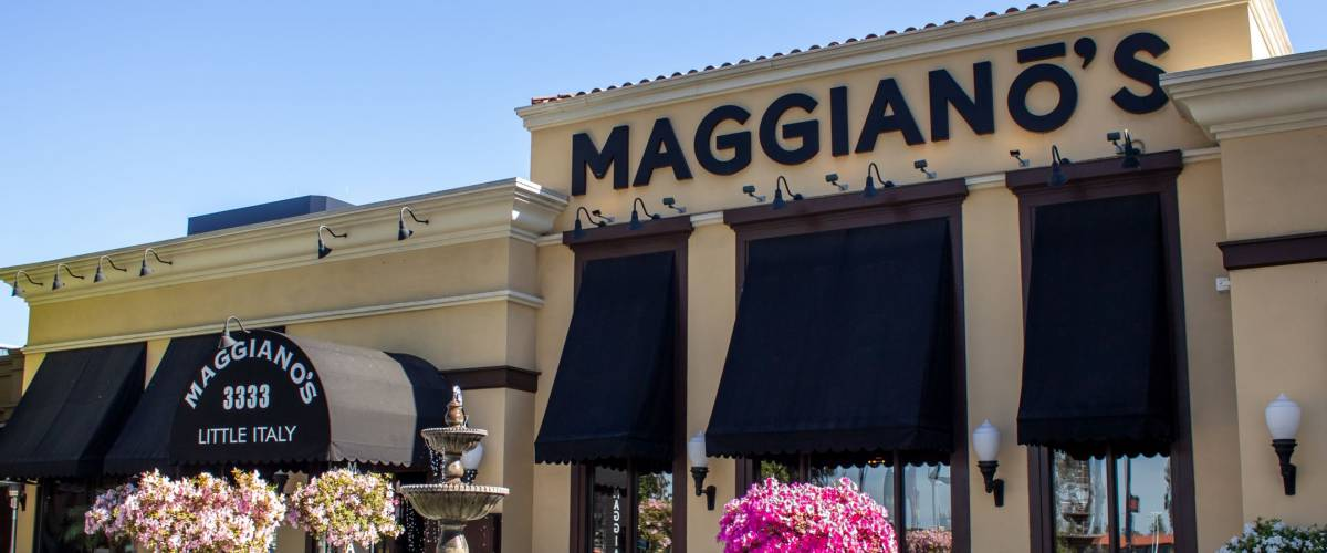 Costa Mesa, California/United States - 04/18/2019: A store front sign for the Italian restaurant known as Maggiano's Little Italy