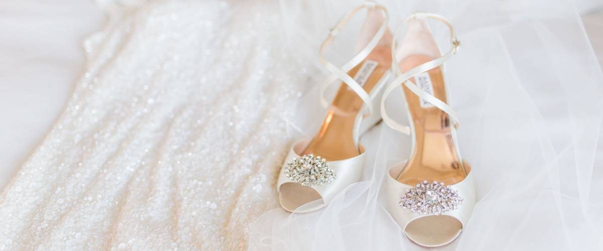wedding shoes and wedding dress.