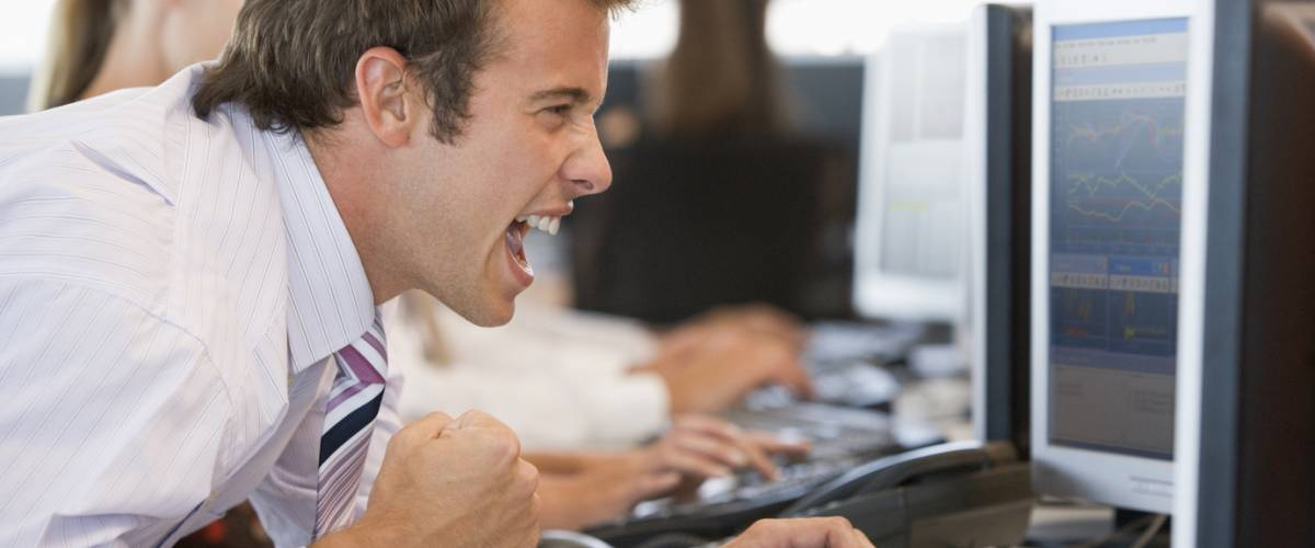 Day trader excited about a stock trade