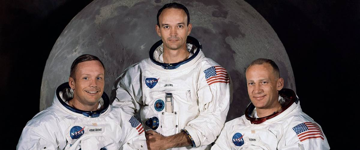 The Apollo 11 lunar landing mission crew, pictured from left to right, Neil A. Armstrong, commander