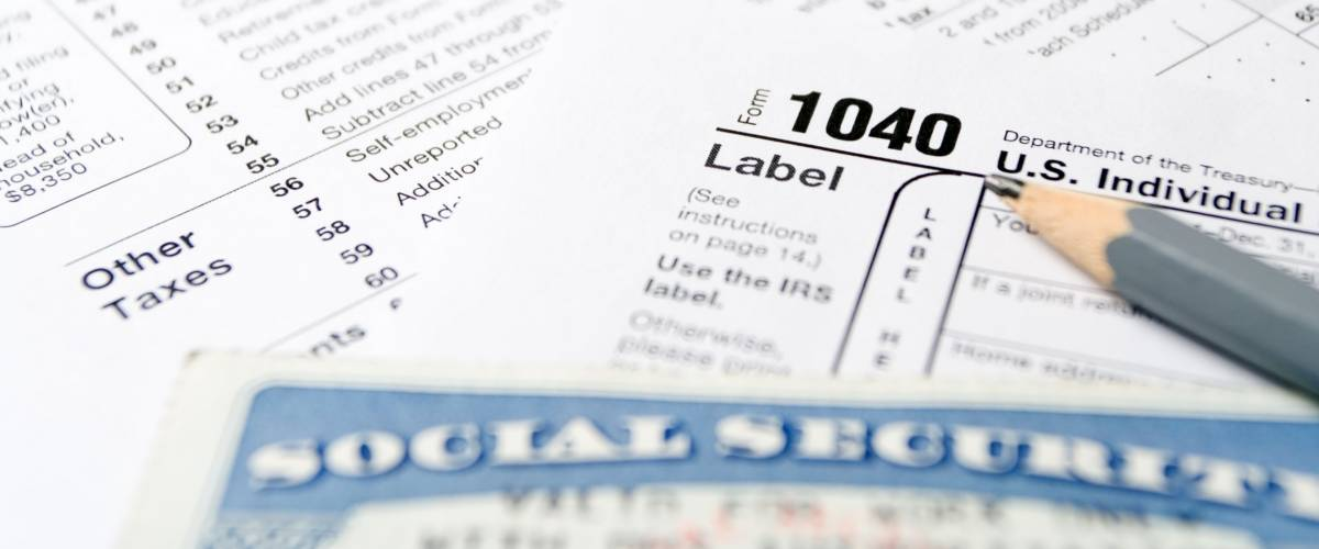 Social Security card on US 1040 tax forms