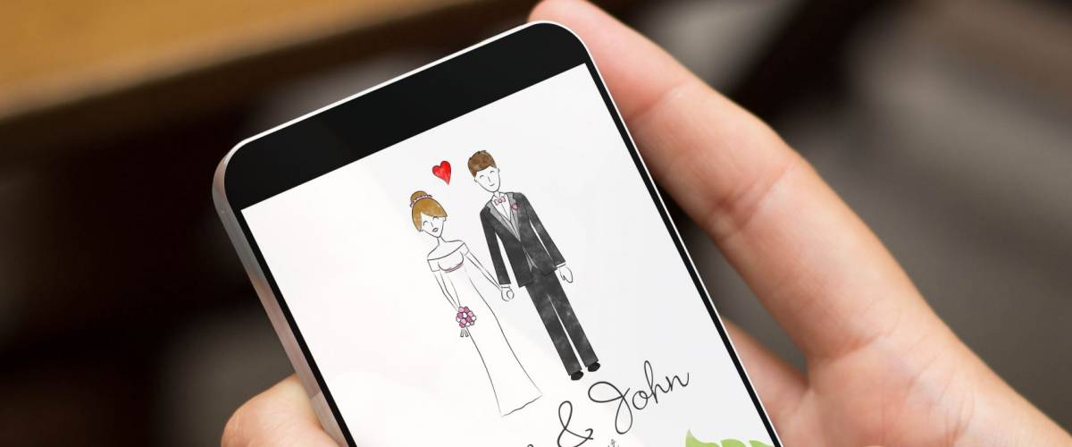 mobile design concept: girl using a digital generated phone with wedding invitation online on the screen. All screen graphics are made up.