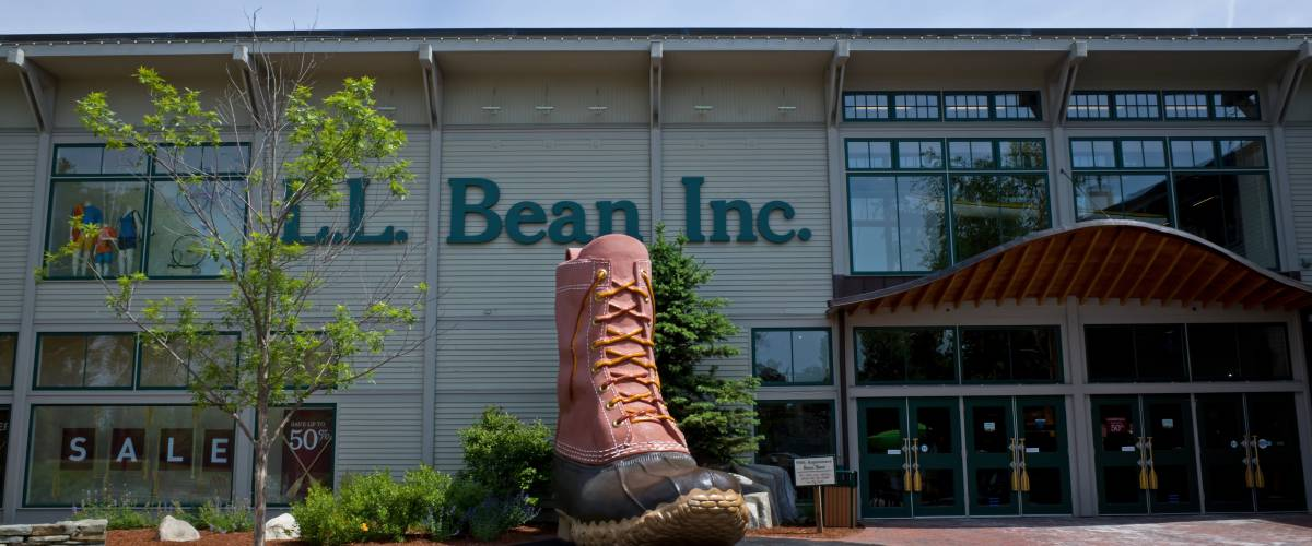 Outside the L.L. Bean flagship store in Freeport, Maine