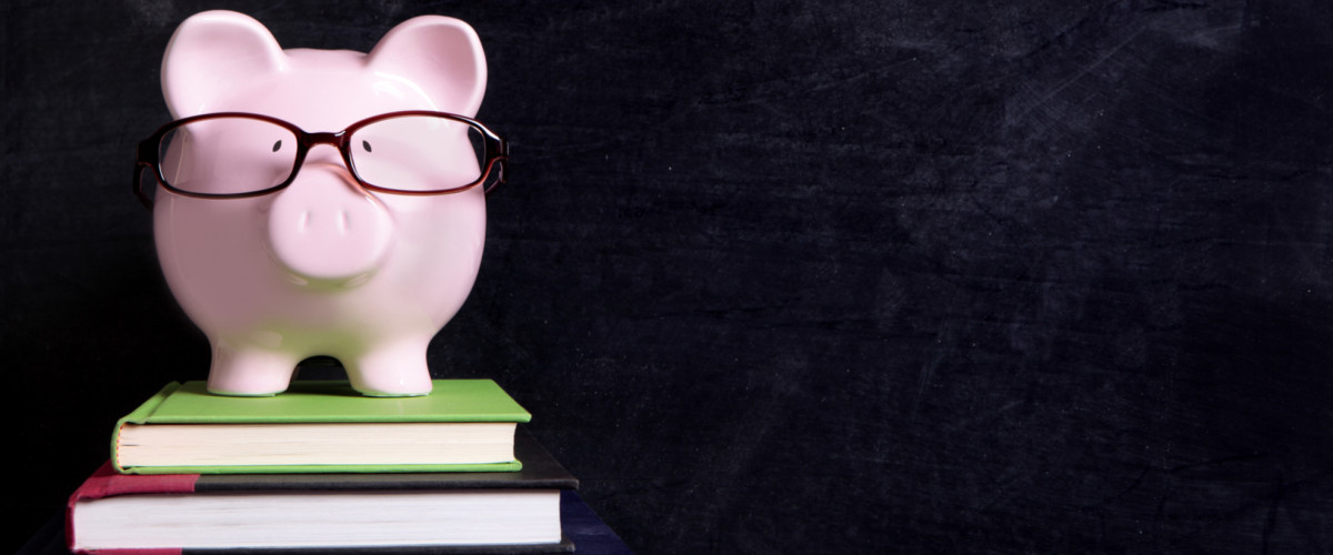 Piggybank wearing glasses
