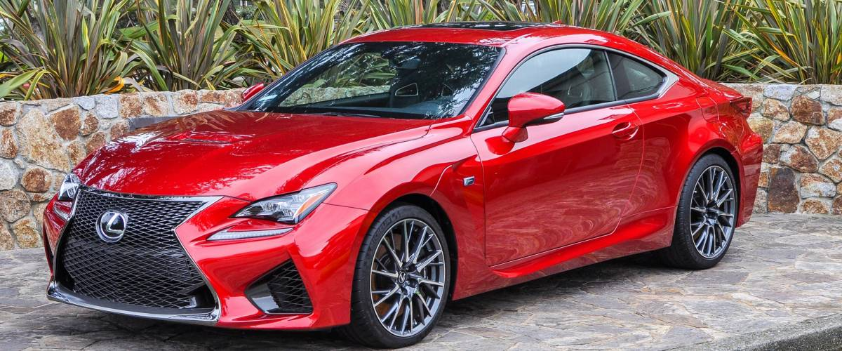 Monterey, CA, USA - Dec. 5, 2015: The new 2016 Lexus RC F Sport Coupe. The Lexus RC F performance sedan is the fastest, most dominant sedan Lexus has ever built.