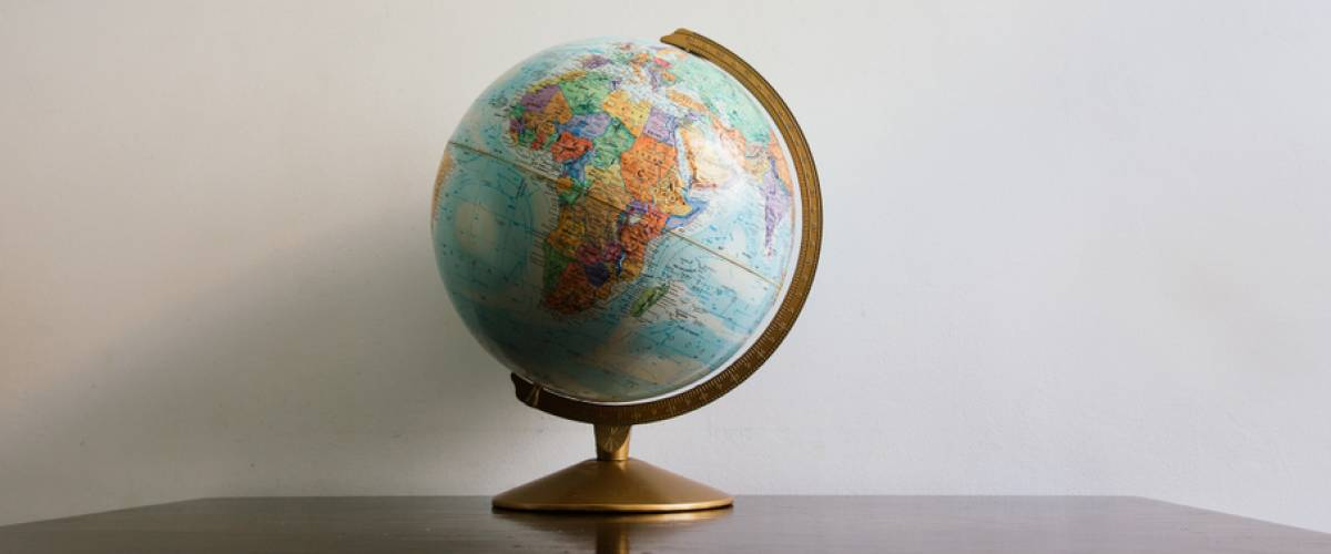 Globe sitting on table