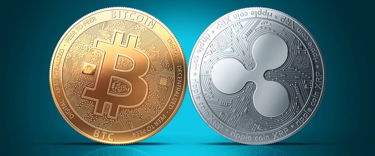 Bitcoin and Ripple XRP side by side