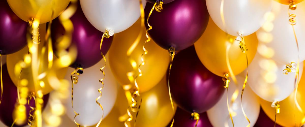 Purple, gold and white balloons