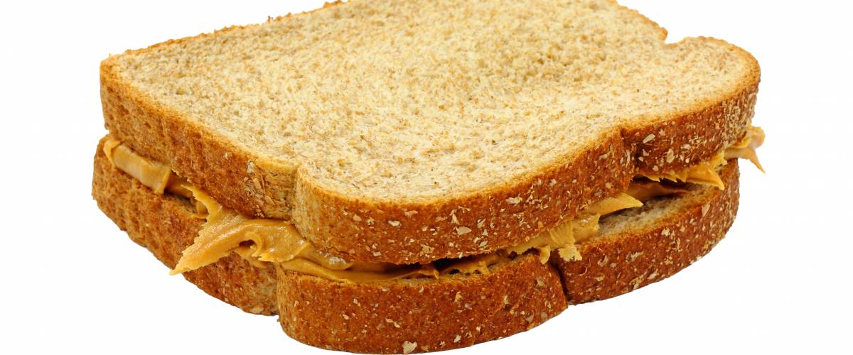 Simple peanut butter sandwich on wheat bread