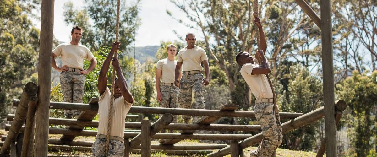 Military recruits in boot camp