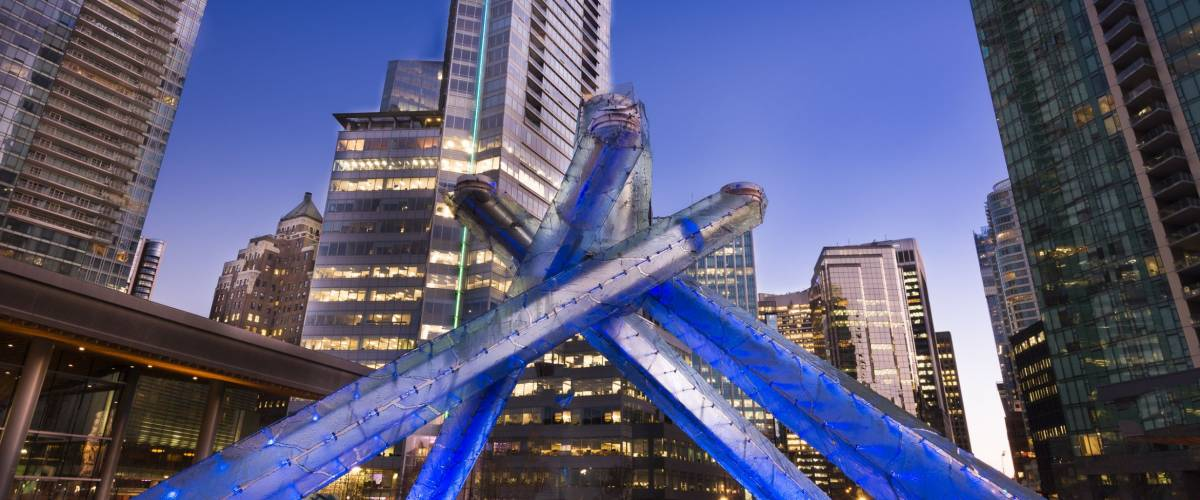 Vancouver Olympic Flame Plaza.  Sunset shot of Vancouver 2010 Winter Games flame.
