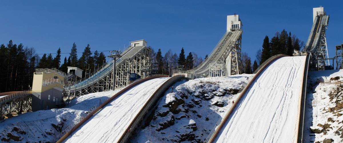 New complex of ski springboards against the blue sky in  Russia, in city Nizhniy Tagil