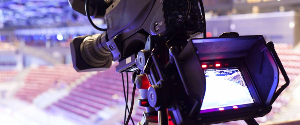TV camera in the hockey palace of sports
