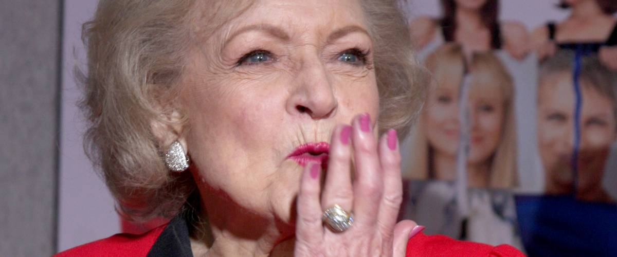Betty White blowing a kiss