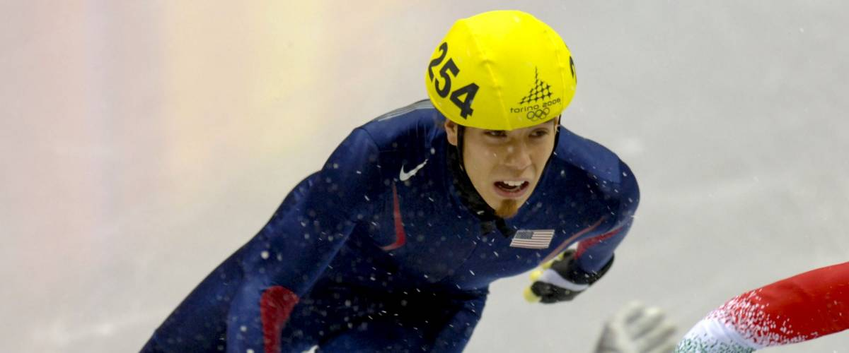 TURIN, ITALY FEBRUARY 13, 2006: Apolo Anton Ohno (USA) competes during the Short Track competition at the Winter Olympic Games of Turin 2006.