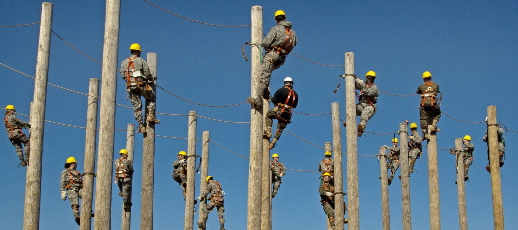 Workers in training on electrical poles