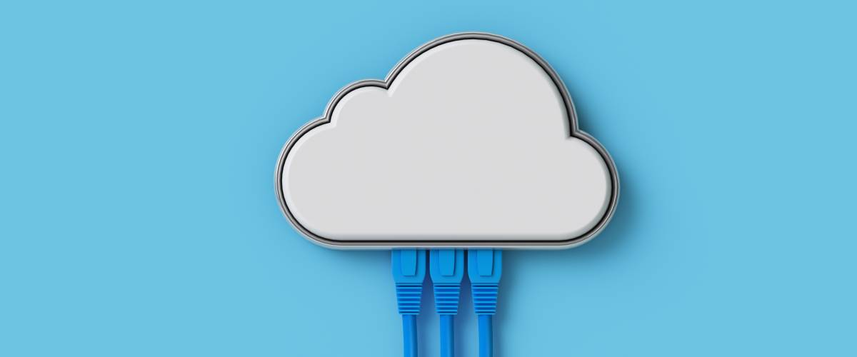 Cloud computing concept or symbol connect with network cable on blue background.