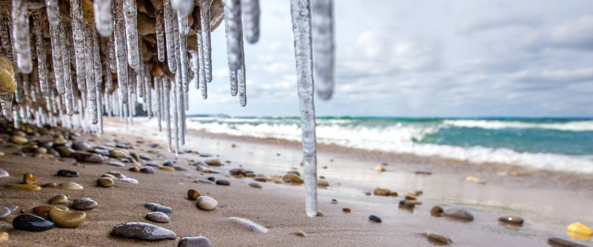 Icicles hang on the beach along Lake Michigan in northern Michigan