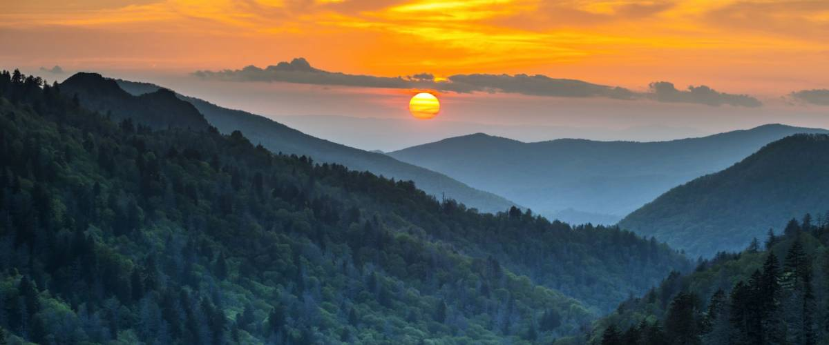 Gatlinburg TN Great Smoky Mountains National Park Scenic Sunset Landscape vacation getaway destination in the Smokies