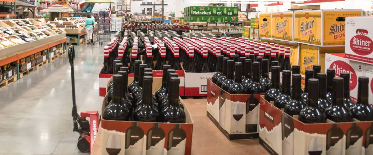 HUMBLE, TEXAS,US-MAY 21, 2017:Aisle of bottles in wine section of Costco store.