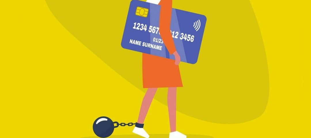 Illustration of a woman with long blonde hair carrying a giant credit card and dragging a ball and chain