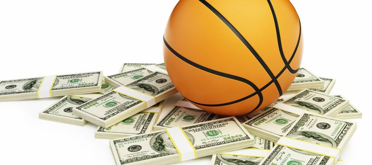 basketball ball dollar on a white background