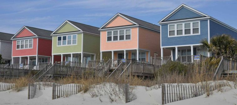 colourful homes on the beach