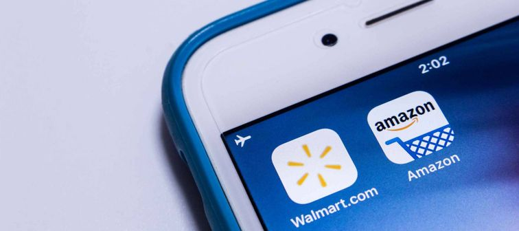 Walmart & Amazon, two big giants of US retail industry, on an iPhone.