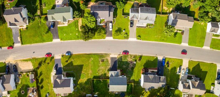 Aerial view of a Cookie Cutter Neighborhood.
