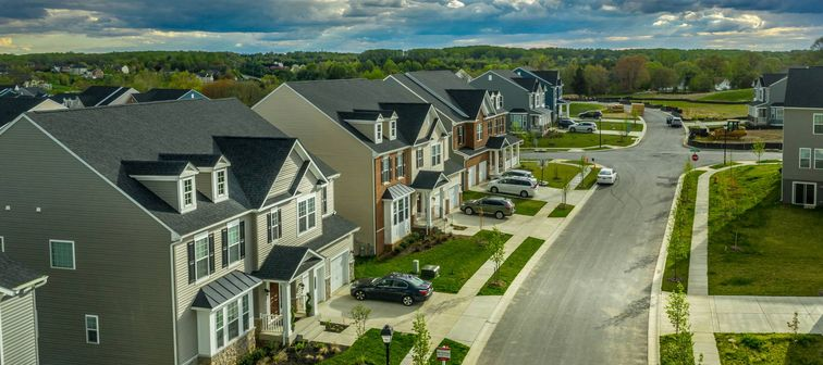 Aerial view of typical American new construction neighborhood street in Maryland for the upper middle class