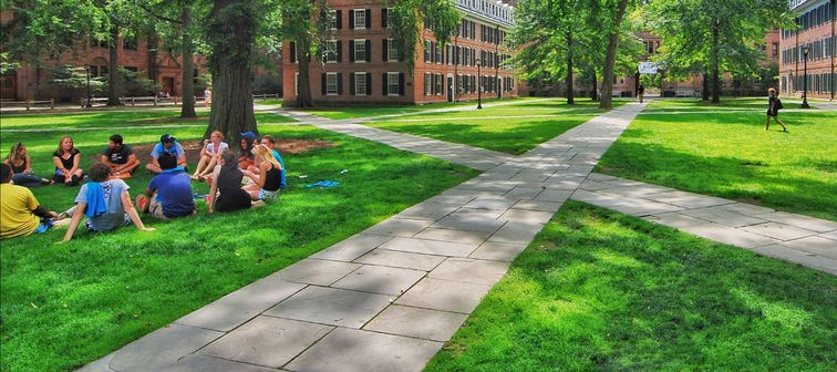 YALE UNIVERSITY, NEW HAVEN, CONNECTICUT, USA - CIRCA 2015: Old campus quad with paved walkways
