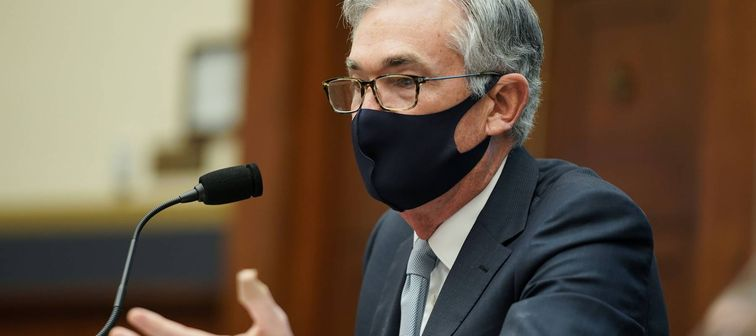 Federal Reserve Chairman Jerome Powell, wearing face mask, during a U.S. House hearing in Washington, D.C., on Dec. 2, 2020.
