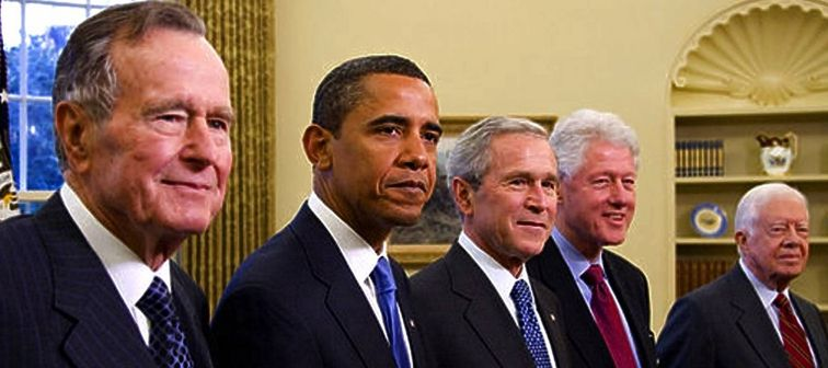 2009 Five Presidents George W. Bush, President Elect Barack Obama, Former Presidents George H W Bush, Bill Clinton, Jimmy Carter Portrait