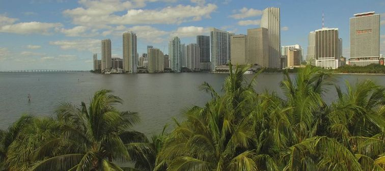 Downtown Miami. Cloudy and sunny day. Florida, USA