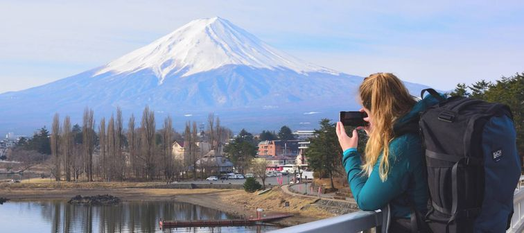 Woman taking picture of Mt Fuji in Japan