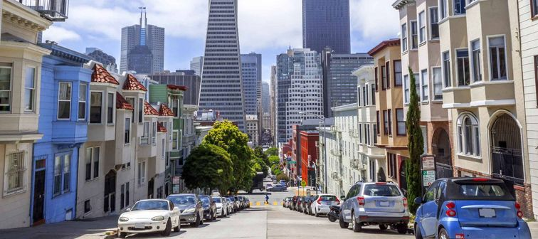 Montgomery St. and Skyline of Downtown areas of San Francisco, CA USA.