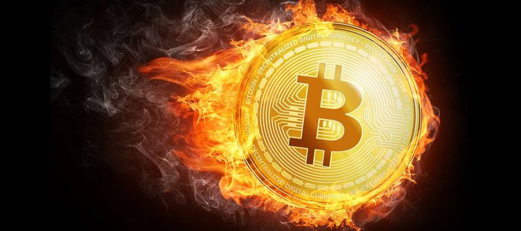 Bitcoin illustration in flames