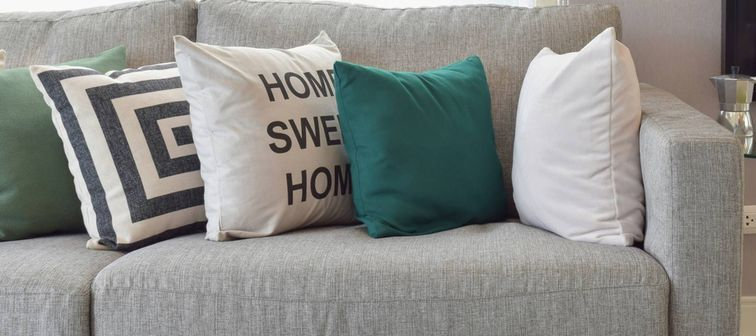 pillow with home sweet home on front