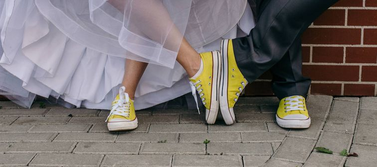 couple with fun shoes