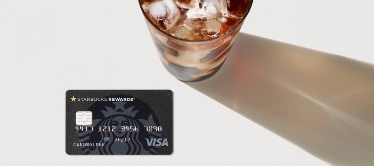The new Chase Starbucks Rewards Visa card, with an iced coffee