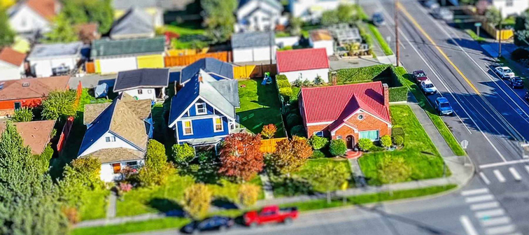Aerial photo of an American suburban neighborhood with tilt shift lens effect to give tiny appearance