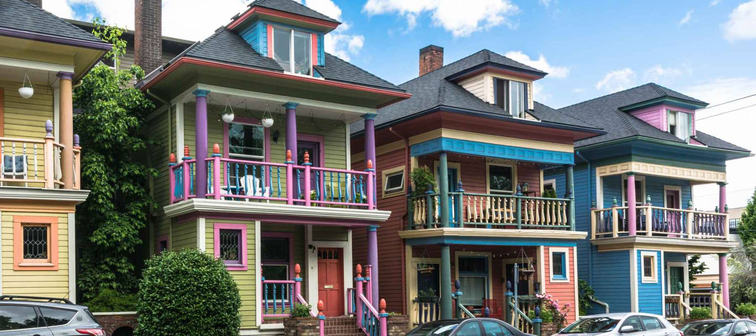 Colorful houses in Portland, OregonPortland,Oregon,USA - June 9, 2017 : Colorful houses in Glisan street