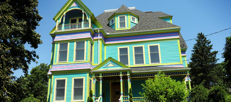 Colorful Victorian house in Boston