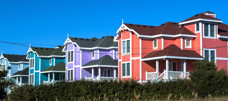 Colorful houses on the Outer Banks of North Carolina