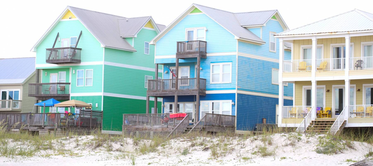 Colorful homes along the beach in Gulf Shores, Alabama
