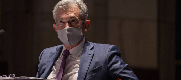 Federal Reserve Chairman Jerome Powell, wearing a face mask, at a congressional hearing in June